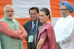 Both the BJP and the Congress have been implicated for FCRA violations by the Delhi high court. Prime Minister Narendra Modi, former PM Manmohan Singh and Congress President Soina Gandhi. Credit: PTI