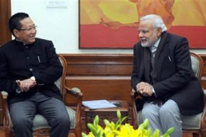 Nagaland chief minister Zeliang with Prime Minister Narendra Modi in February this year. Credit: PTI