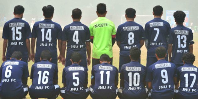 The JNU players sport jerseys bearing Najeeb Ahmed's name. Credit: Twitter