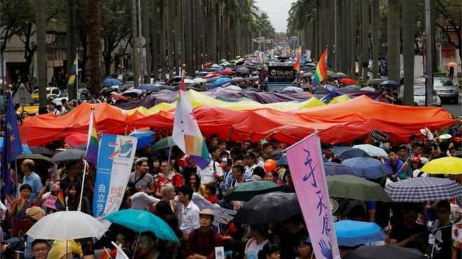 The rainbow flag, which represents the lesbian, gay, bisexual and transgender community, was visible across Taipei on Saturday. Credit: Reuters