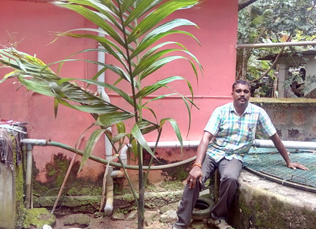 Madhavan Ramadas, 42, a banana and coconut farmer in district Thrissur, Kerala faced hardship every summer as his home open well would dry up. Across India, barely 3% wells registered a rise in water level exceeding 4 metres in the year ending January 2016. Only 35% of wells showed any rise in water level, indicating the scale of the problem. Credit: IndiaSpend