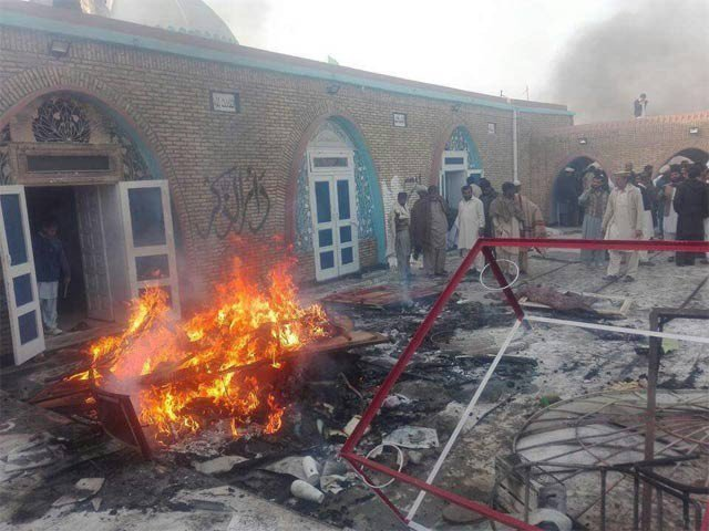 The Ahmedi mosque in Chakwal that was attacked by a mob. Credit: Twitter