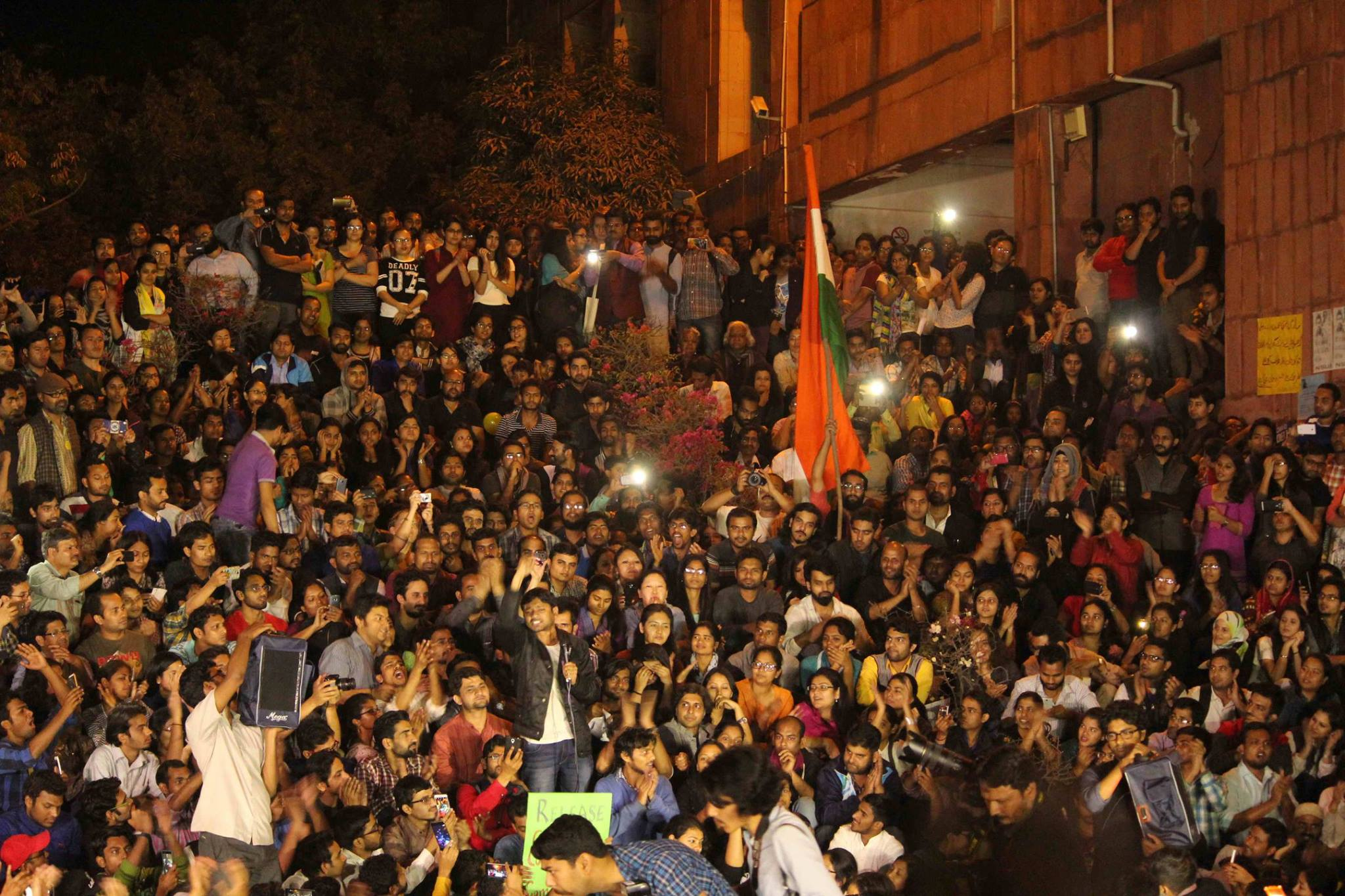 Kanhaiya Kumar receives a warm welcome in JNU the night he received bail and returned to the campus. Credit: Facebook