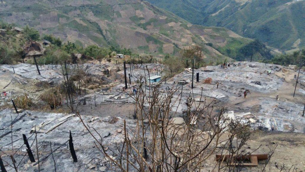 The fire in Arunachal Pradesh. Credit: Tongam Rina/ Facebook
