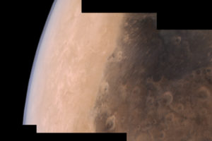 A mosaic of images taken by the Mars Colour Camera onboard MOM showing the Syrtis Major region of Mars, September 2015. One of the MOM payload's objectives is to trace the prevalence of and study the methane in Mars's atmosphere. Credit: Justin Cowart/Flickr, CC BY 2.0