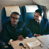 Sashanka S. Banerjee (right) with Mujibur Rahman flying on a Royal Air Force VIP Comet Jet on January 9, 1972 from London to New Delhi and then on to Dhaka, arriving on the soil of Bangladesh on January 10, 1972 to a tumultuous welcome at Romna Maidan.