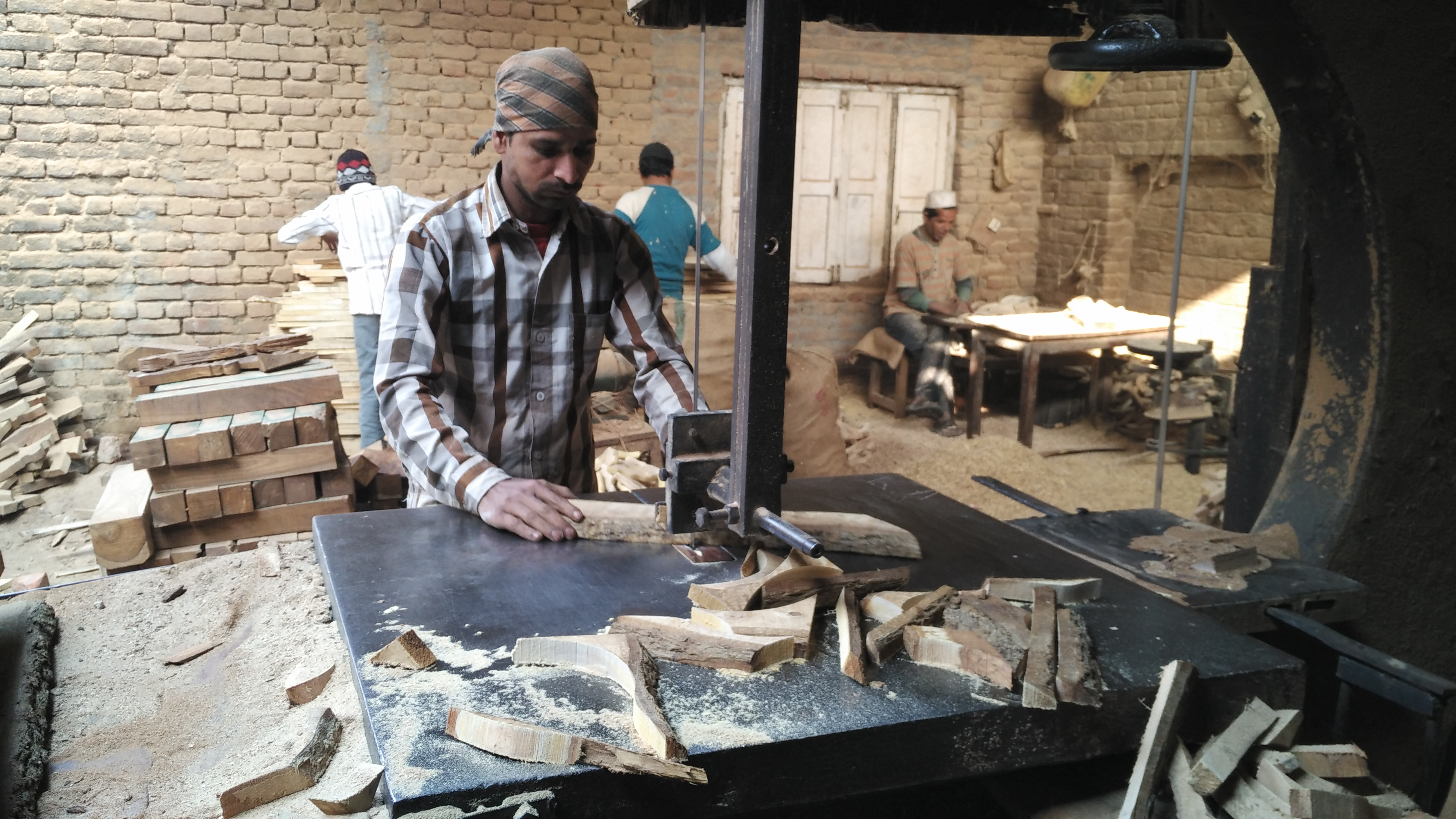 A woodwork workshop in Saharanpur city