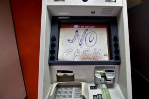 A notice is displayed on an ATM in Guwahati. Credit: Reuters