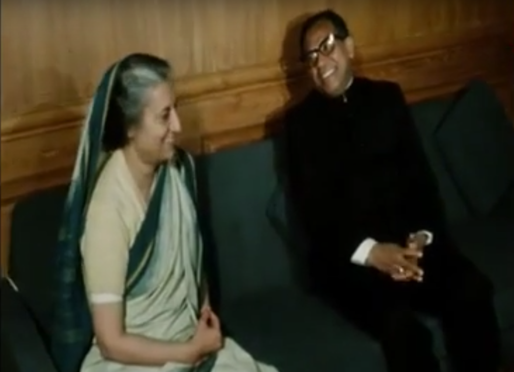 Abdus Samad Azad, the first foreign minister of Bangladesh, with Indira Gandhi in New Delhi in 1972. Credit: YouTube/AP