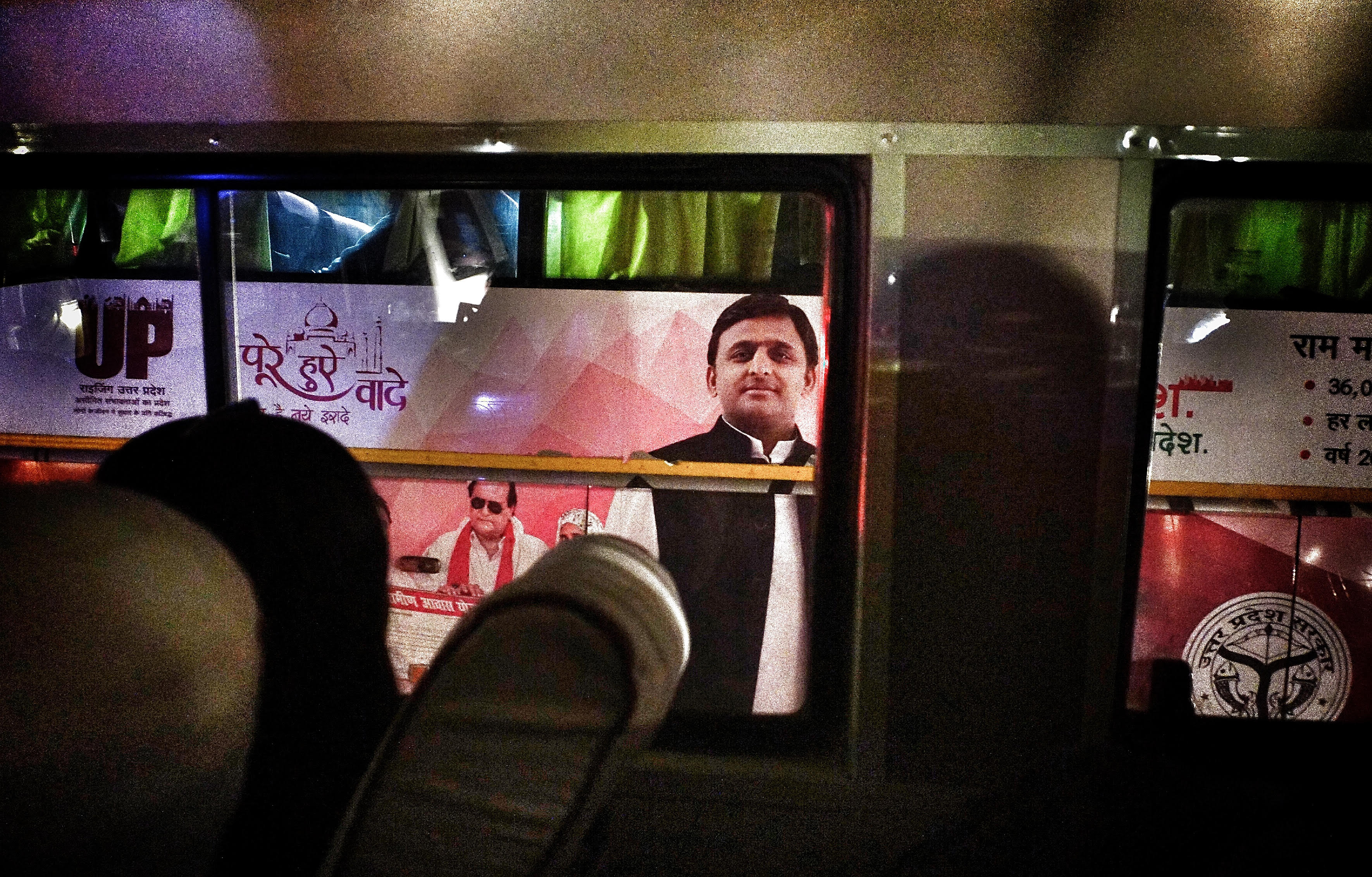 Akhilesh Yadav on a UP tourism bus used as a mascot for showcasing the development work his government has done. Credit: Shome Basu