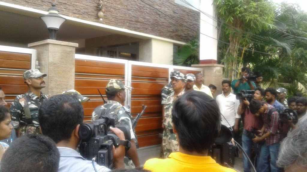 CRPF personnel during the raids. Credit: Twitter