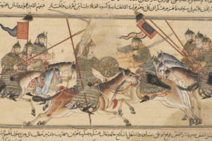 The fighting between Mahmud ibn Sebuktegin and Abu 'Ali Simjuri in 994, miniature from the 'Jami' al-Tawarikh' of Rashid al-Din, c.1307. Ghazni was one of the formidable invaders who is thought to have repeatedly plundered India. Credit: Wikimedia Commons