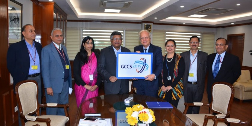 Alphonsus Stoelinga, Dutch Ambassador to India hands over the baton for the GCCS conference to India's IT minister, Ravi Shankar Prasad. Credit: PIB