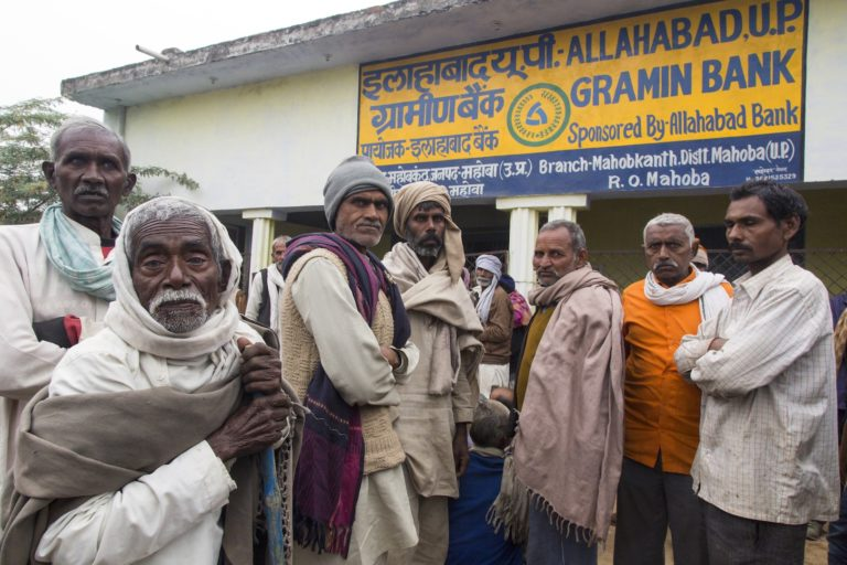 Gramin bank: Community members from Mahoba district in UP wait outside their local gramin bank to withdraw cash. People were frustrated because the bank had not dispensed any cash for three days. Credit: Hina Fathima