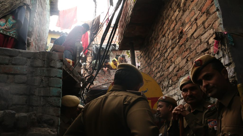 Camp set up by DDA in Kathputli Colony for issuing signing up slips for relocation. Credit: Akshita Nagpal