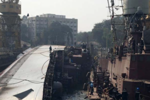 The INS Betwa after it tipped over. Credit: Twitter