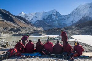 Local Monk from Everest region perform religious retuals during the completion ceromony of much-awaited Imja Lake Lowering Project. 23 November 2016. Credit: Nabin Baral