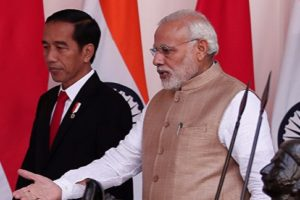 Indonesian President Joko Widodo with Indian Prime Minister Narendra Modi. Credit: Reuters