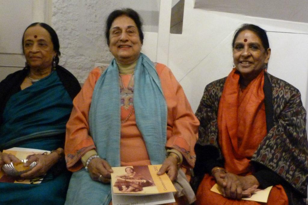 Anjolie Ela Menon (left), Jalabala Ramachandran (centre) and Jaya Jaitley at the launch of the calendar. Credit: CWDS
