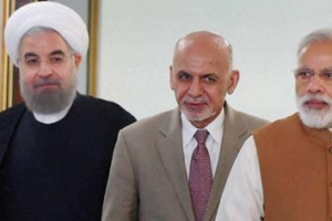 Prime Minister Narendra Modi with Iranian President Hassan Rouhani and President of Afghanistan Ashraf Ghani. Credit: PTI