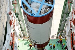 An inside view of PSLV-C36 second stage hoisting inside the mobile service tower. Credit: ISRO