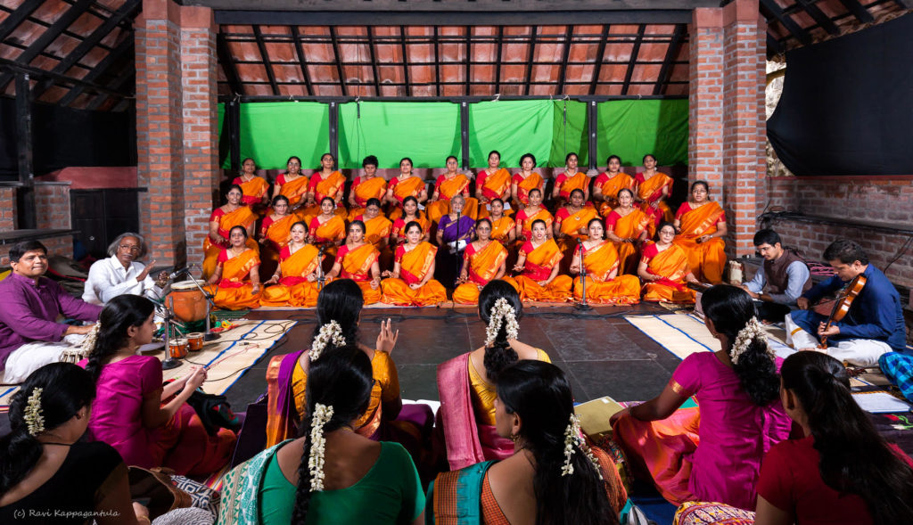 Thirty Women on Stage,Singing as One Voice in Tribute to Bharatiyar