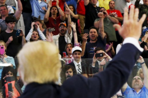 US President-elect Donald Trump waves to supporters after speaking at a campaign rally in Mid-Hudson Civic Center in Poughkeepsie, New York April 17, 2016. Credit: Reuters/Eduardo Munoz