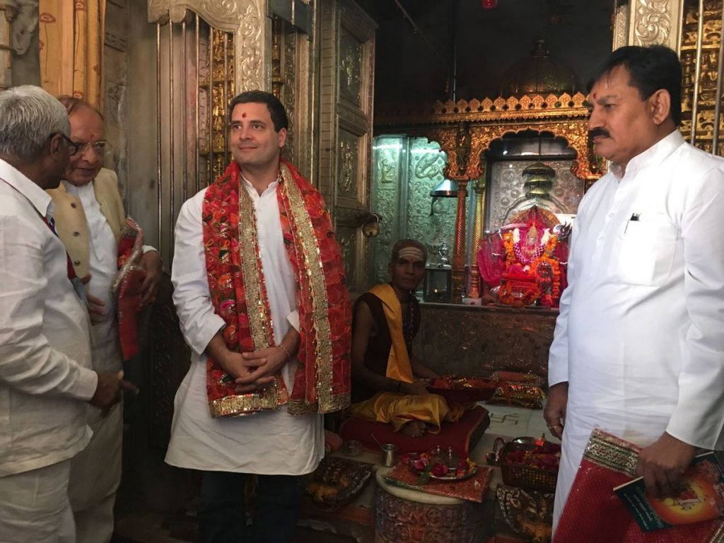 Rahul Gandhi at the Umiya temple. Both the Congress and the BJP have begun to prepare for the Gujarat elections next year. Credit: Damayantee Dhar