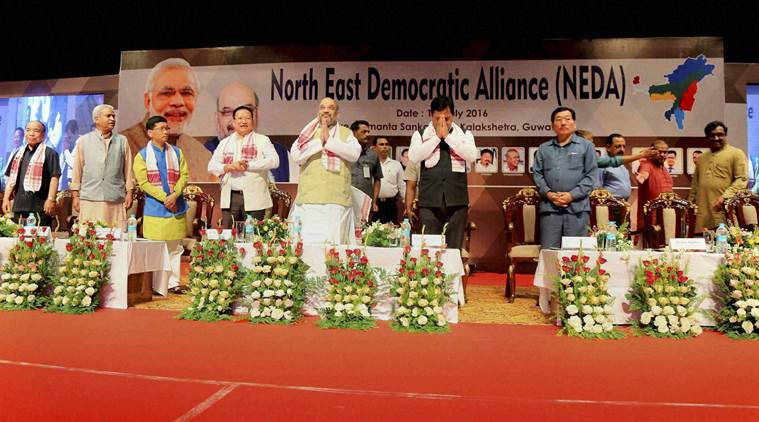 Guwahati: Bharatiya Janata Party (BJP) president Amit Shah with other leaders at North East Democratic Alliance (NEDA) conclave at Srimanta Sankardev Kalakshetra in Guwahati on Wednesday. PTI Photo (PTI7_13_2016_000218B)