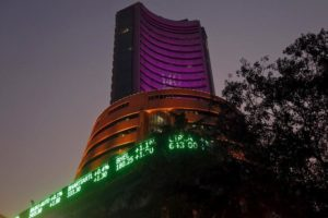 """The Bombay Stock Exchange (BSE) building is illuminated during a special """"muhurat"""" trading session for Diwali, the festival of lights, in Mumbai, India, November 11, 2015. Credit: Shailesh Andrade/Reuters/Files"""
