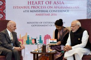 Afghan President Ashraf Ghani and prime minister Narendra Modi at the Heart of Asia conference in Amritsar. Credit: PTI