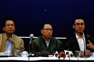Members of the United Naga Council at a press conference in New Delhi. Credit: Special arrangement