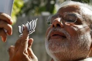 File photo of Prime Minister Narendra Modi taking a ''selfie''after casting his vote during the 2014 general election. Credit: Reuters