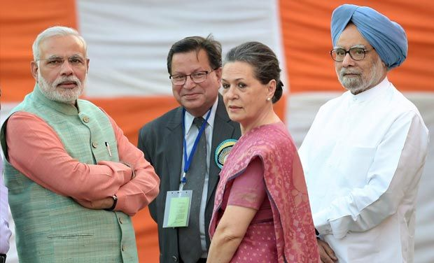 Fie photo of Prime Minister Narendra Modi, Congress leader Sonia Gandhi and former PM Manmohan Singh. Credit: PTI