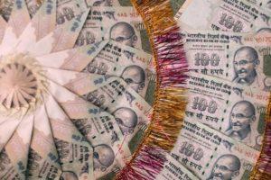 A garland made of cash. Credit: Reuters
