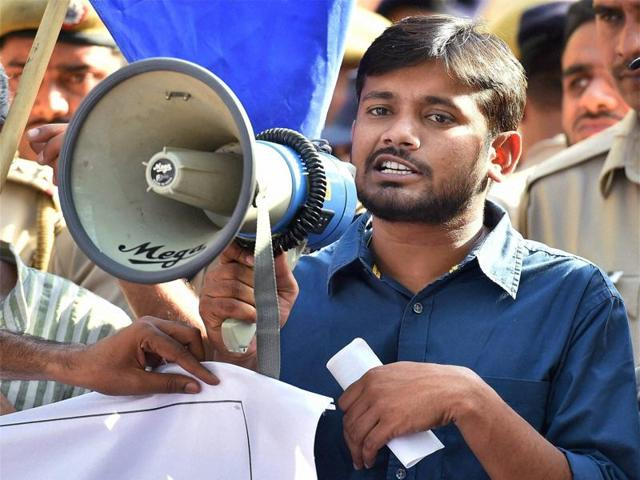 Kanhaiya Kumar addressing a protest march. Credit: Reuters/Files