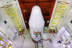 The PSLV C36 in the vehicle assembly building, Sriharikota. Credit: ISRO