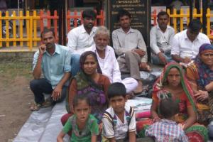 The Sarvaiya family protesting in Gandhinagar. Credit: Damayantee Dhar