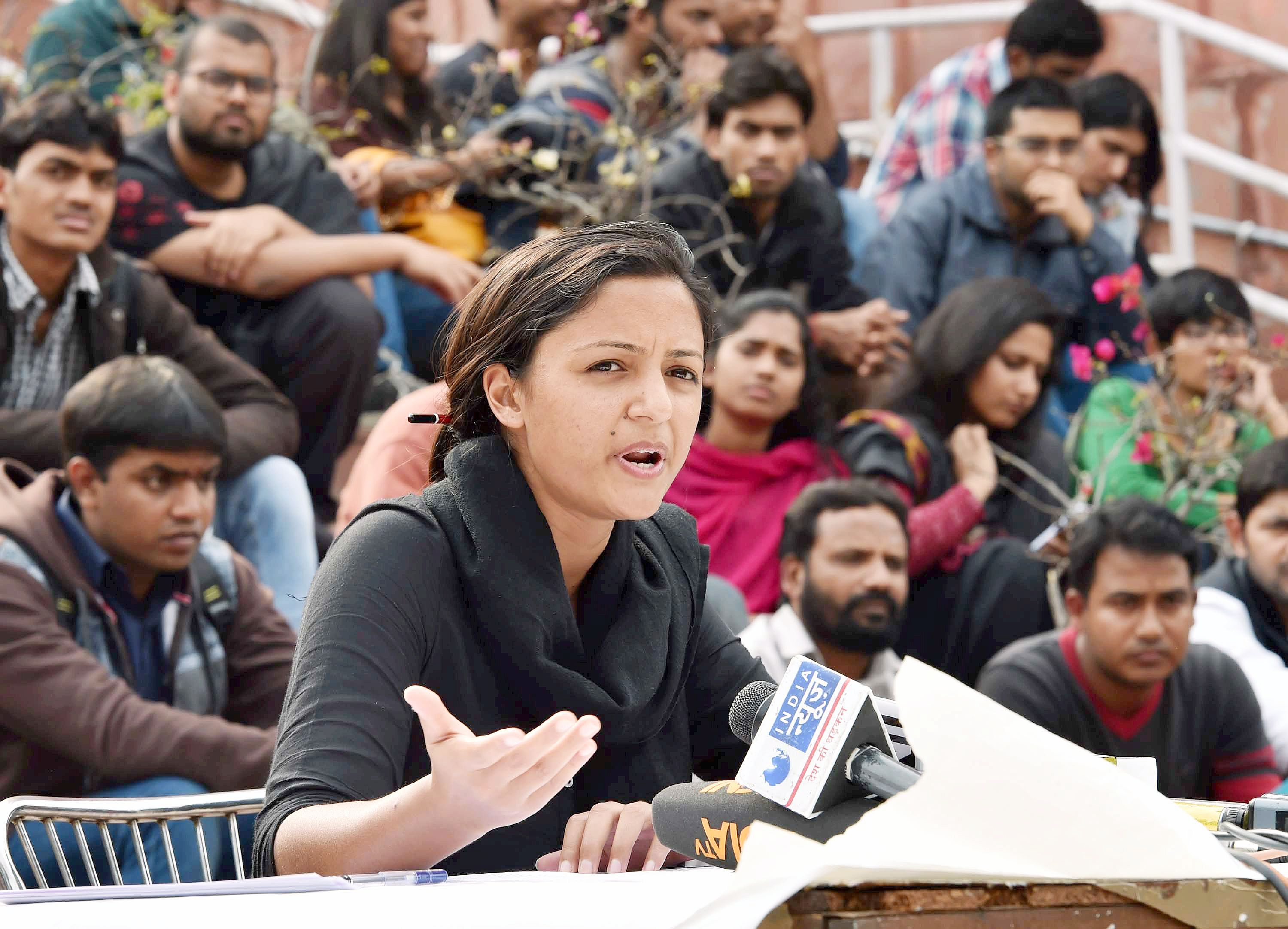 JNUSU Vice President Shehla Rashid addresses a press conference in JNU. Credit: PTI/Files
