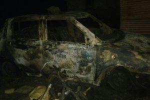 A vehicle burnt in the mob attack on Panchashil Nagar. Credit: Kirtikumar Shinde