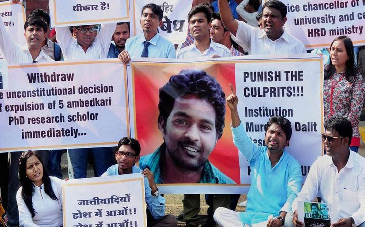 Protests demanding justice for Rohith Vemula. Credit: PTI/Files