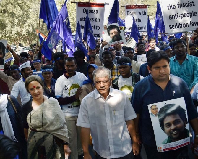 Students protest during a march over Rohith Vemula's suicide, in New Delhi. Credit: PTI/Files