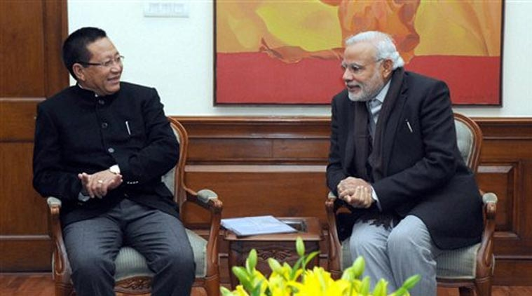 Prime Minister Narendra Modi with Chief Minister of Nagaland, T.R. Zeliang at a meeting in New Delhi. Credit: PTI