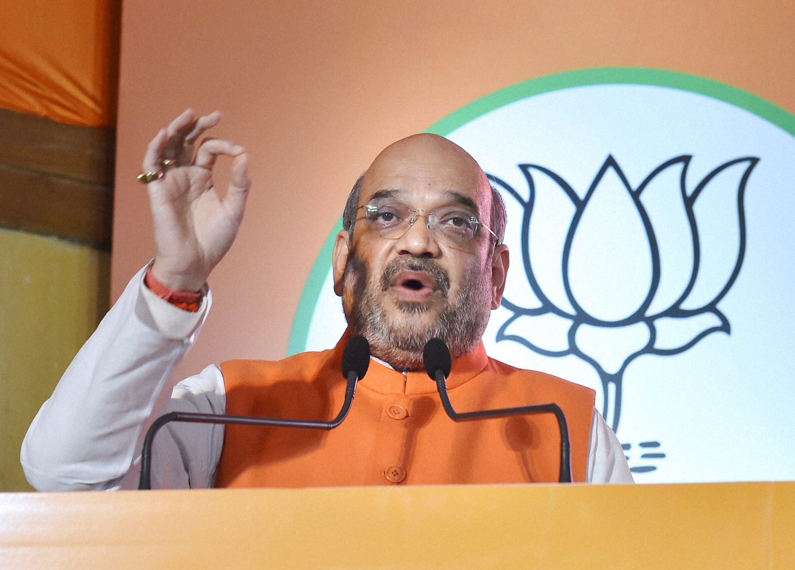 Lucknow: BJP President Amit Shah addresses during the party manifesto release for the upcoming Uttar Pradesh assembly elections in Lucknow.Credit: PTI/Nand Kumar