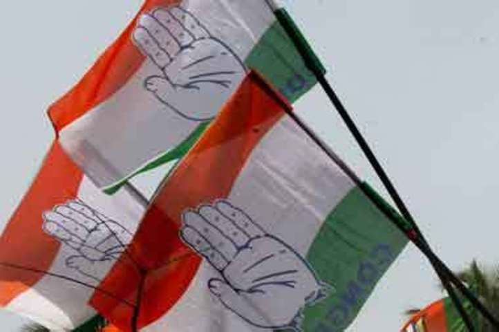 Congress party flags. Credit: PTI