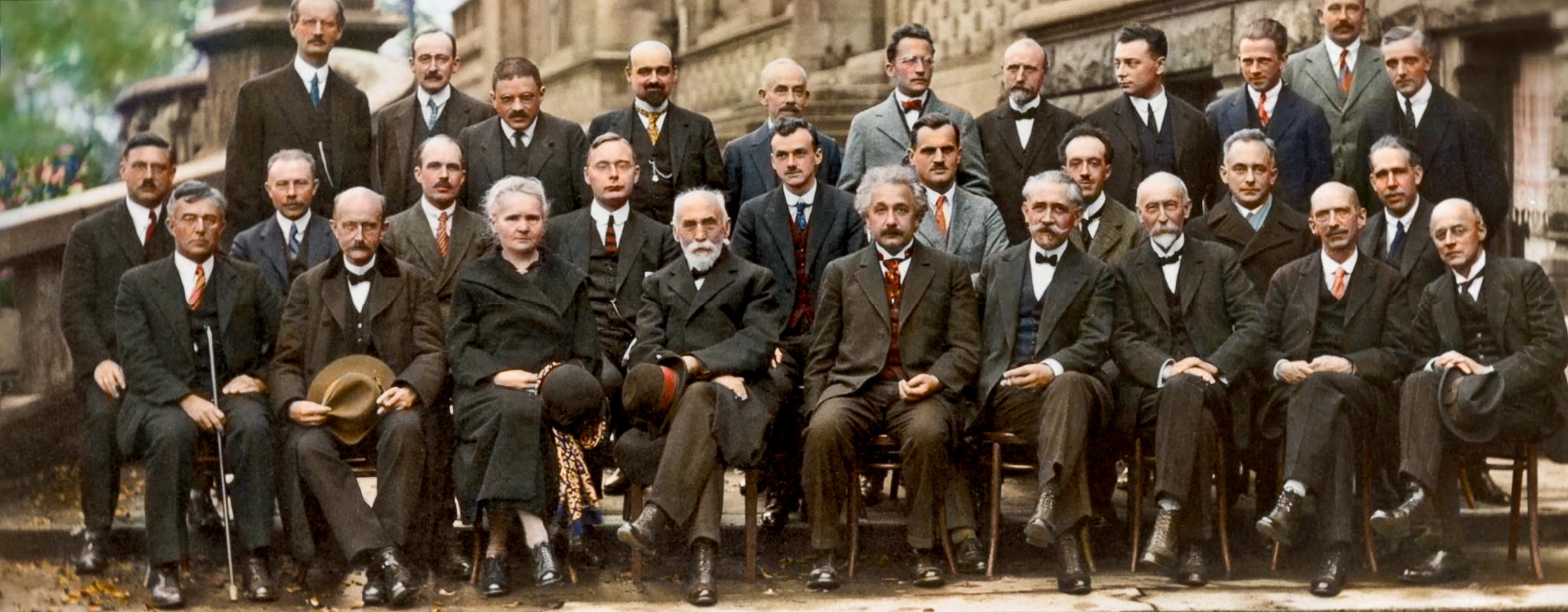 At the 1927 Solvay Conference: Werner Heisenberg, Wolfgang Pauli (back row, third and fourth from right, resp.) and Paul Dirac (middle row, fifth from right) were in attendance to discuss the new quantum theories. Enrico Fermi attended the next Solvay Conference, in 1930. Credit: iharsten/Flickr, CC BY 2.0