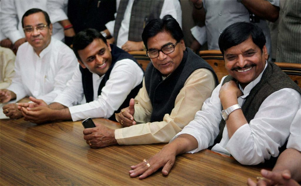 Uttar Pradesh Chief Minister Akhilesh Yadav with his uncle and Samajwadi Party leaders Ram Gopal Yadav and Shivpal Yadav. Credit: PTI/Files