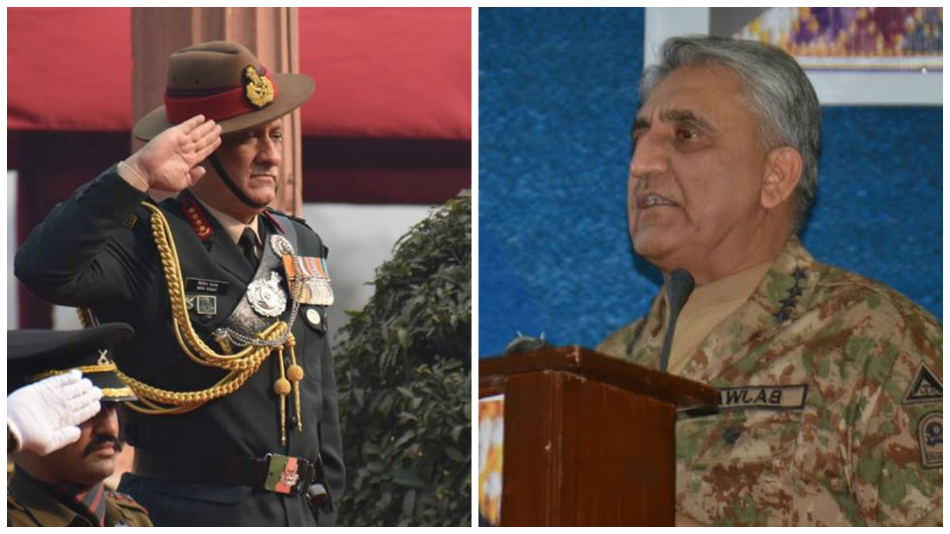 Indian army chief General Bipin Rawat and Pakistan army chief General Qamar Javed Bajwa. Credit: Indian army/Pakistan army
