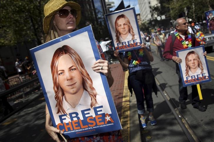 People hold signs calling for the release of imprisoned wikileaks whistleblower Chelsea Manning while marching in a gay pride parade in San Francisco, California June 28, 2015. Credit: Reuters/Elijah Nouvelage/Files
