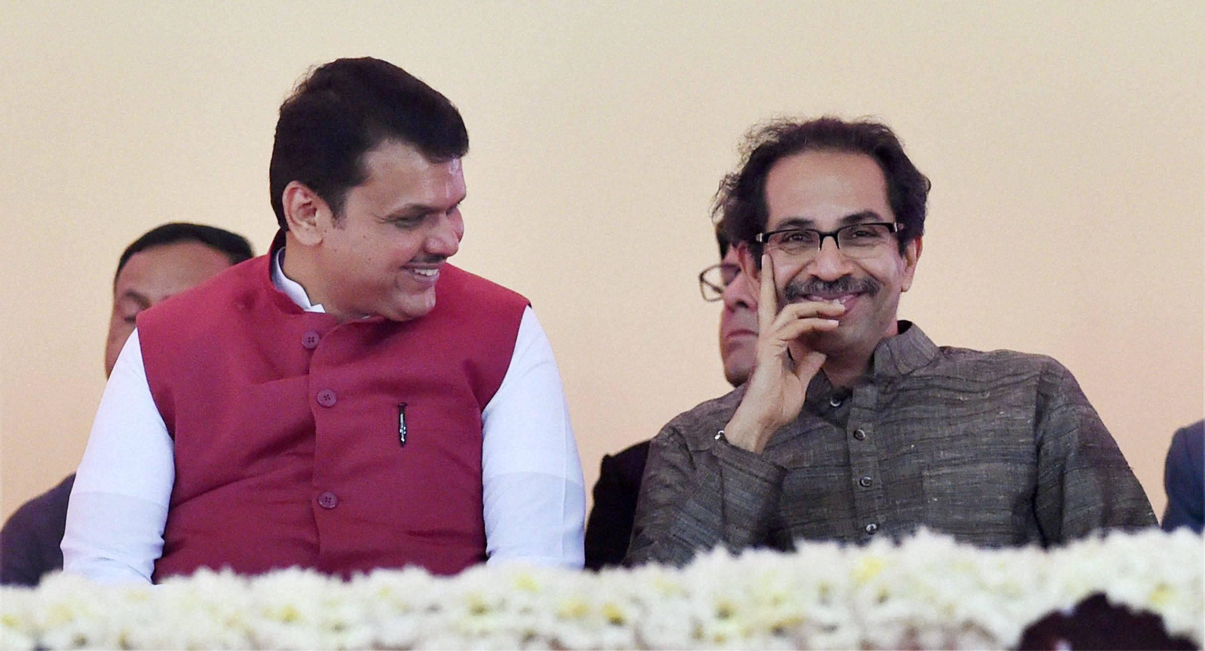 In happier times: Maharashtra chief minister Devendra Fadnavis and Shiv Sena president Uddhav Thackarey. Credit: PTI